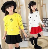 2016 Autumn Winter Children S Clothes Printed Long Sleeve Mohair Baby Girls Knitted Pullovers Sweaters For