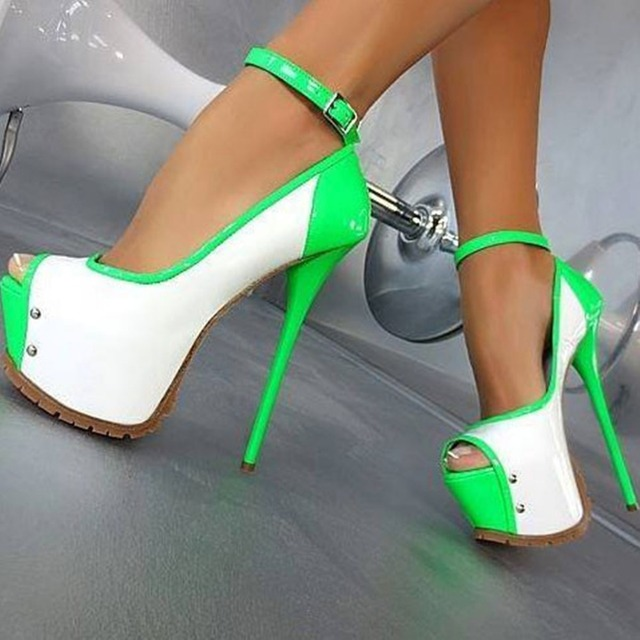 Super Sexy Mujeres Bombas Agradable Multicolores Plataforma Peep Toe Zapatos de Mujer Tacones Delgados Bombas Negro Verde Más El Tamaño EE.UU. 4-15