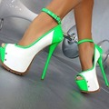 Super Sexy Women Pumps Nice Multicolors Platform Peep Toe Thin Heels Pumps Green Black Shoes Woman Plus US Size 4-15