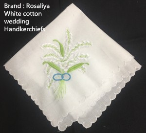 Set Of 12 Ladies Handkerchief White Cotton Wedding Hankies With Scallop Edged & Color Embroidered Vintage Hanky For Bridal Gifts