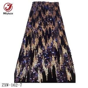 Image 3 - Milylace Nigeriano paillettes tessuto in velluto 5 metri a due colori sequenza di modo tessuto in velluto morbido tessuto per vestiti da partito ZXW 162