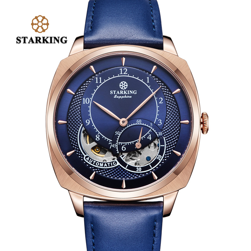 STARKING Automatic Mechanical Watches Men Dress Fashion High Quality Stainless Steel Wrist Watch Men Luxury Rose Gold Blue Watch