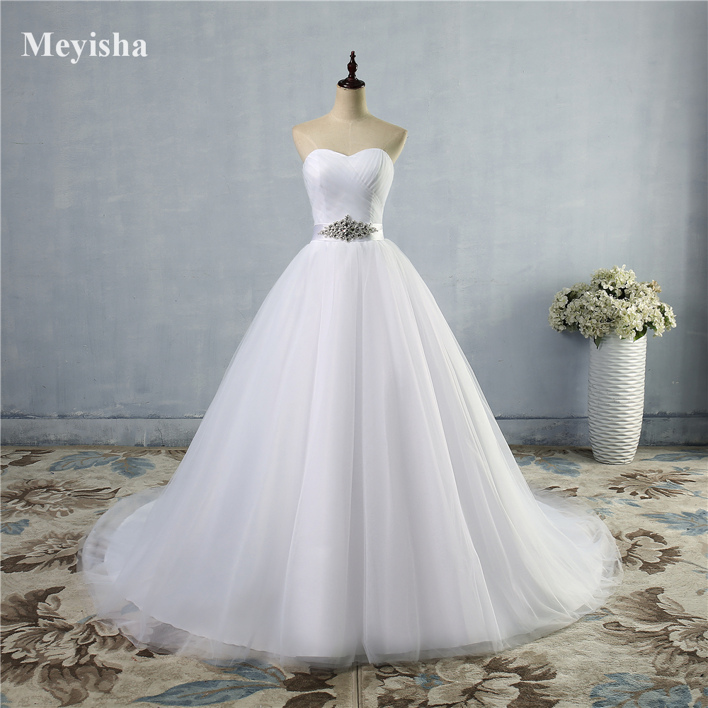 ZJ9056-S 2019 A Line Lace Sweetheart Off The Shoulder Sleeveless White Ivory Bridal Wedding Dress Bride Gown With Train