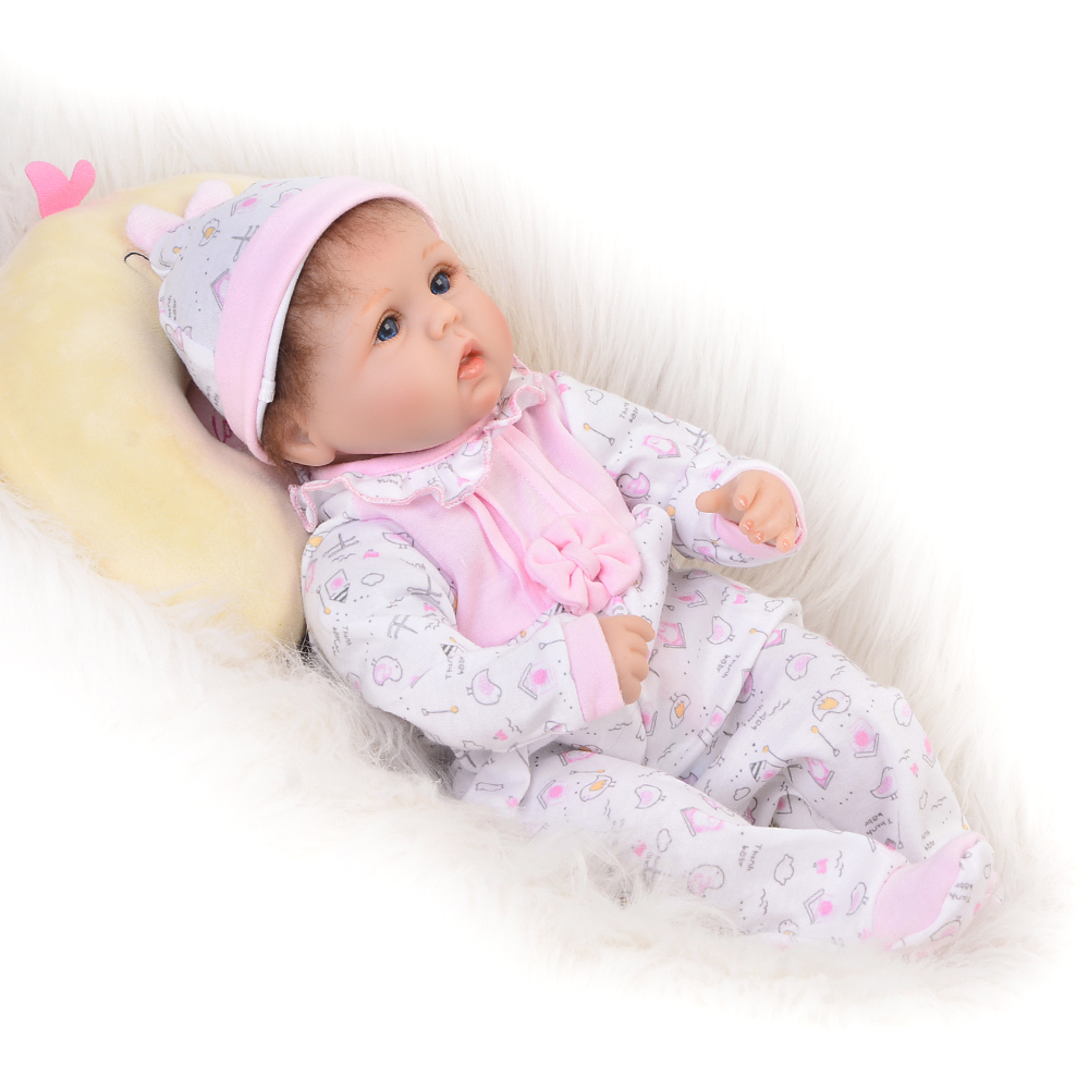 Cartoon Style Reborn Baby Doll 17 Inch Soft Silicone Baby Newborn Alive Dolls Stuffed Safe Toy Gifts For Children NPK COLLECTION hot sale 2016 npk 22 inch reborn baby doll lovely soft silicone newborn girl dolls as birthday christmas gifts free pacifier