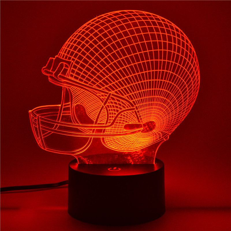 Helm Topi England Patriots 7 Warna LED Night Light Acrylic 3D - Lampu malam