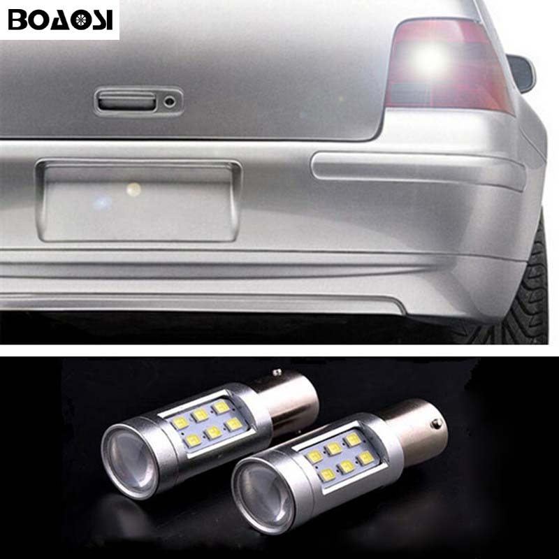 BOAOSI 2x 1156 LED 2835 Chip backup reverse light lamp For Volkswagen VW polo touran jetta Passat B1 B2 B4 B3 B5 B6 T4 T5 atreus 2x car led crystal water lamp drl daytime running light 12v for volkswagen vw polo golf 4 5 6 7 passat b5 b6 touran honda