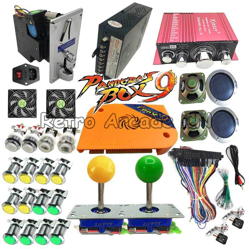 DIY full kit with Pandora box 9 PCB 1500 in 1 LED chrome button zippy joystick