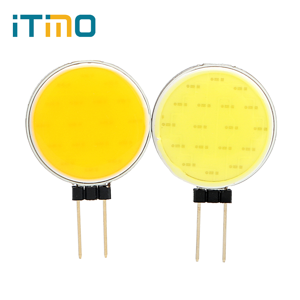 iTimo G4 COB LED Blub 12V Round Pin Shape Replace Spotlight Indoor Lighting Cold / Warm White Decorative Light Lamp Super Bright