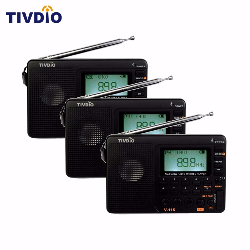 3pcs TIVDIO V-115 Radio FM/AM/SW Bass Sound Player REC Voice Recorder With Sleep Timer/Automatic Search Store Radio FM Portable