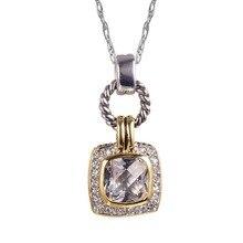 Белый Кристалл Циркон 925 пробы серебро золото заполненный красивый кулон привлекательные ювелирные изделия кулон TE733