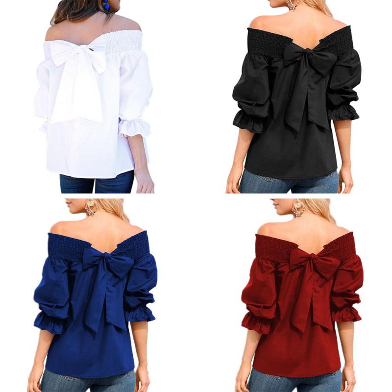 HTB1P7UGc56guuRjy0Fmq6y0DXXaH - Sexy Off Shoulder Bowknot Blouse Spring Summer Strapless Women Tops Slash Neck Shirts Casual Loose Blusas Plus Size