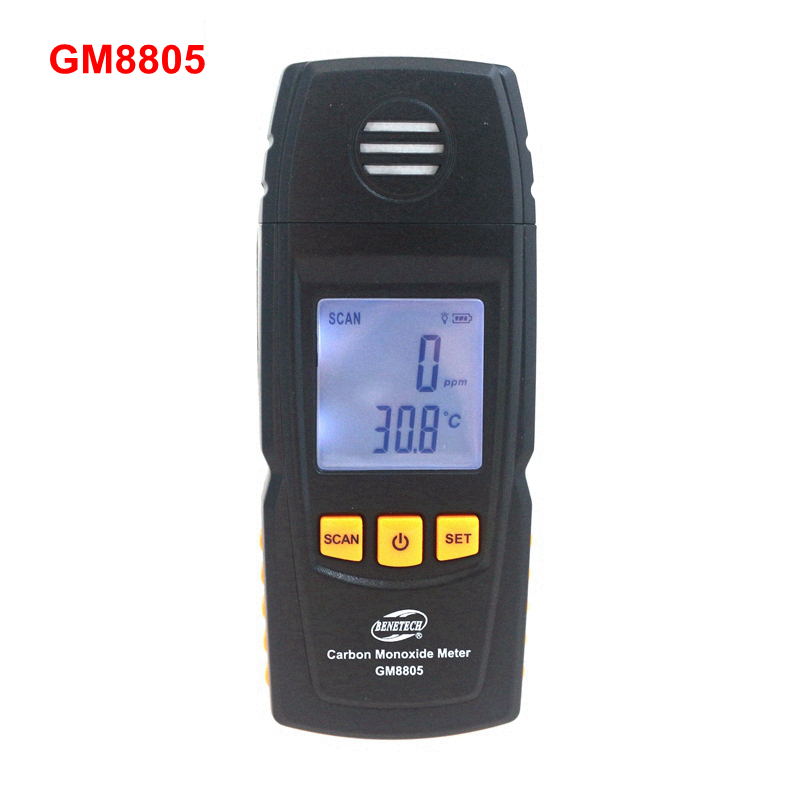 ФОТО GM8805 Digital CO Monitor Carbon Monoxide Fire Detector 0 ~ 1000ppm Air Gauge Natural Gas Analyzer LCD Handheld