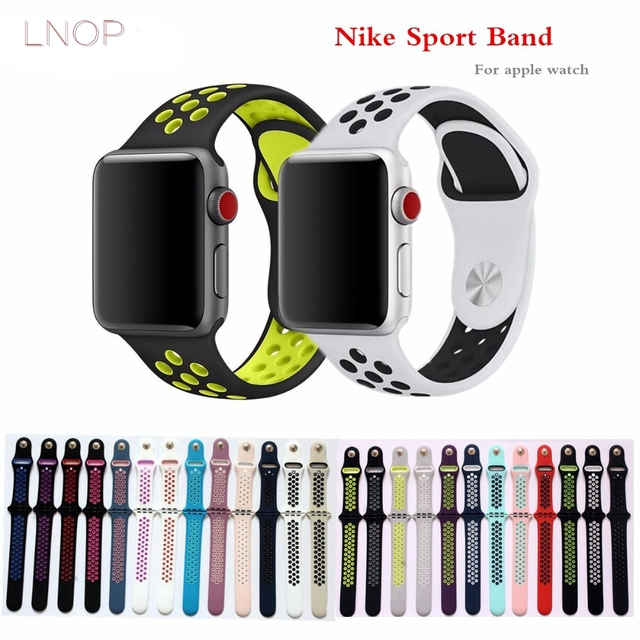 45c723ed034 LNOP Sport Silicone strap For apple watch 44 40mm 42 38mm Accessories iwatch  series 4 3 2 1 wristband Porous breathable bracelet