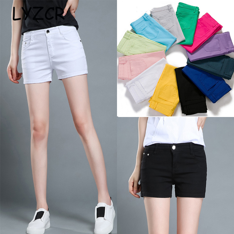 code promo acheter mieux Royaume-Uni US $8.98 46% OFF Women's Summer Shorts Jeans for Women Candy Color Basic  Casual Ladies Shorts for Woman Cotton Mid Waist Black Short Femme-in Shorts  ...