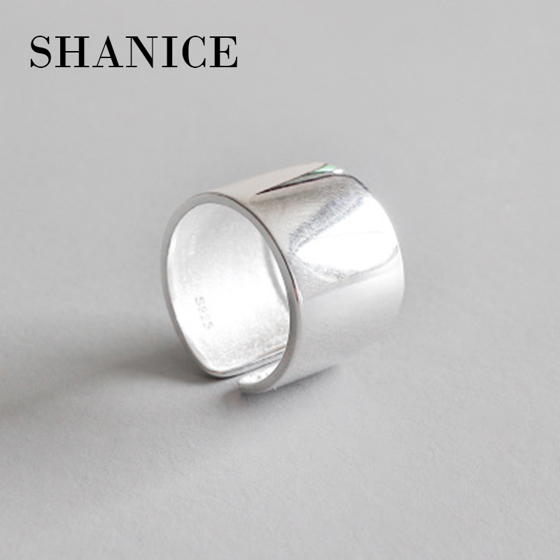 SHANICE Wide Face Smooth 925 Sterling Silver Chic style Open Ring For Women Big Rings for Women Punk Style Bijoux Femme punk style floral hollow out cuff ring for women