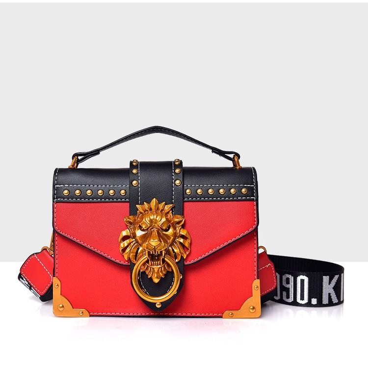 87c61163aa5a 2019 Trend Women Handbags Gold Metal Lion Head Lock Small Square Shoulder  Bag Designer Color Patchwork Wide Letter Strap Purses-in Shoulder Bags from  ...