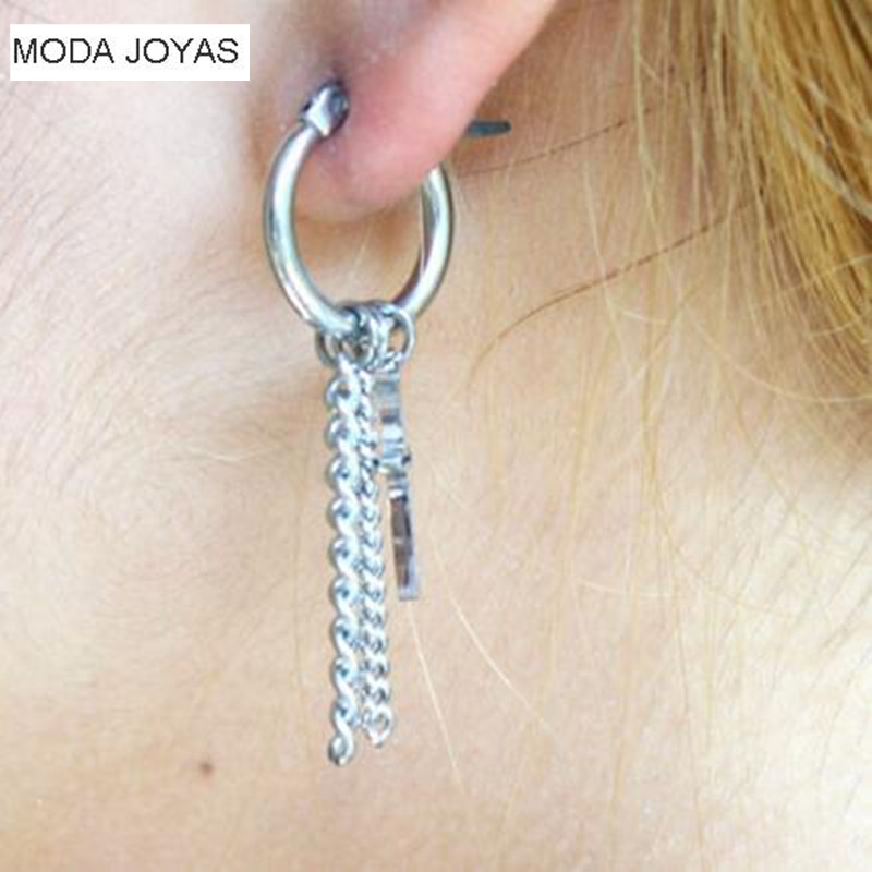 1pcs Fashion Jewelry Korean Long Tassel Stainless Steel BTS Earrings For Men Women Brinco Bijoux Vintage Geometric Stud Earring