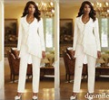 2016 Custom Made Chiffon mãe da noiva jaqueta calças de manga comprida terno para mãe vestido de alta qualidade