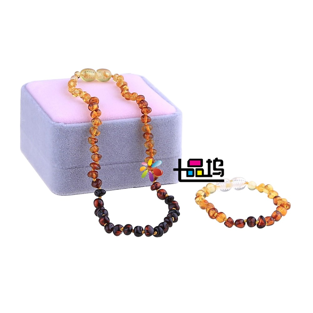 6 Color Baltic Teething Bracelet Necklace Set for Baby Certified Natural Amber Anti Inflammatory Beads Jewelry Gift for Children