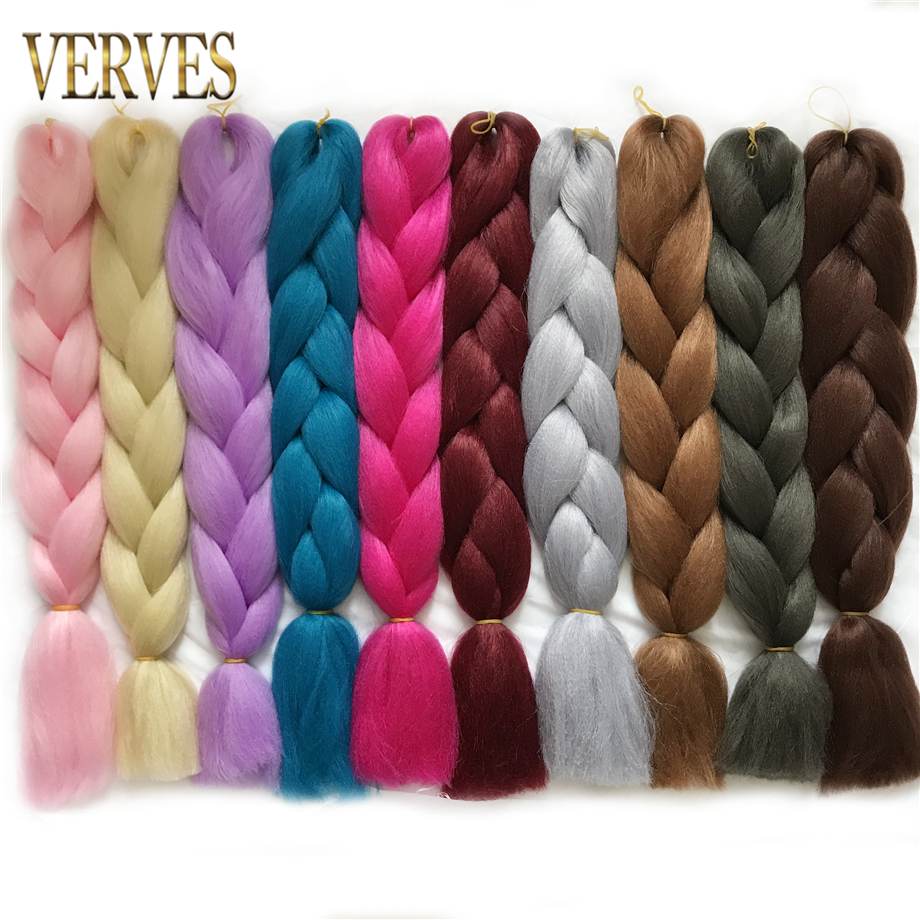 VERVES Synthetic Braiding Hair Extensions 1 Piece 24'' 100g/pcs Yaki Straight High Temperature Fiber Crochet Braids Bulk Hair