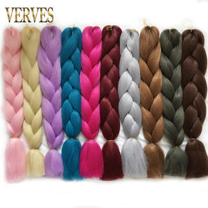 VERVES Hair-Extensions Braiding Bulk-Hair Crochet Yaki Straight Synthetic 1piece High-Temperature-Fiber