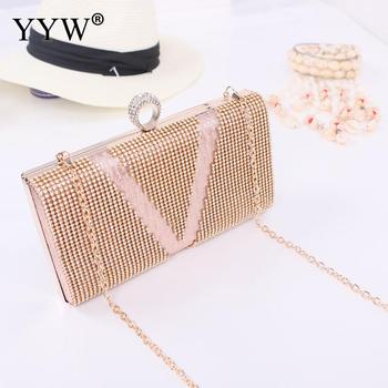 Pu Leather Rhinestone Evening Purse Easy Matching Clutch Purse Bag With Hanging Strap With Rhinestone Crystal Sold By Pc 2019