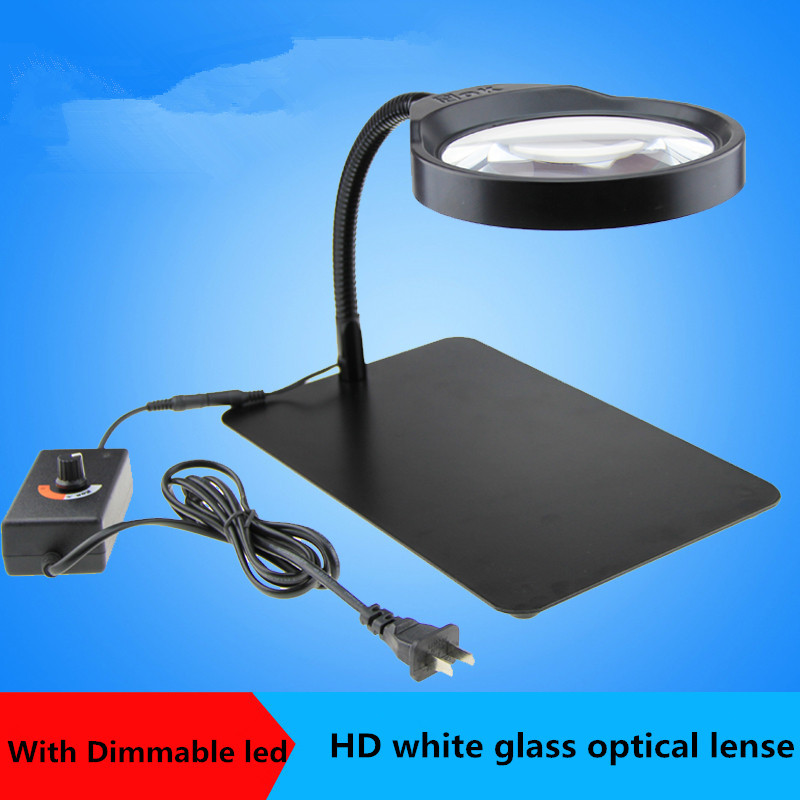 Germany PDOK 8X Desktop Magnifier with 36pcs LED HD lens magnifier/ Elderly Reading LED Magnifier lamp/ Repair Stands Light