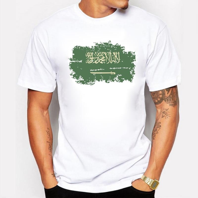 Nya Sommar Saudiarabien Flagga T-shirts För Män Mode Tillfällig Nostalgisk Saudiarabien Flaggstil Rio Spel Cheer Tops & Tees
