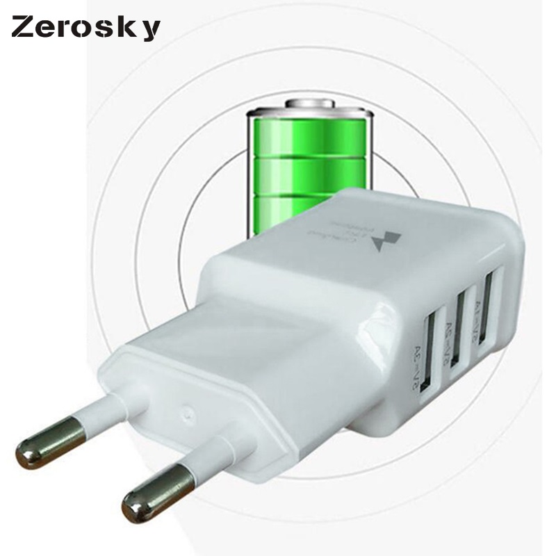 Zerosky 3 Ports EU US Plug USB Wall Charger 5V 3A Smart Adapter Mobile Phone Chargine Cata Device For iPhone 7 iPad iPod Xiaomi