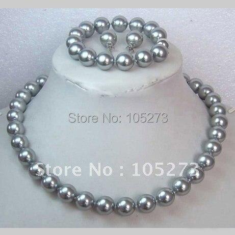 Cinza Sea Shell pérola colar AA 10 MM 18 polegada 7.5 polegada pulseira  S925 prata brinco moda jóias Set New frete grátis 76c85da316