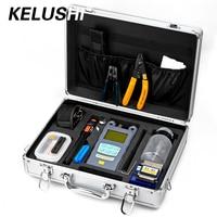 KELUSHI 22 IN 1 Fiber Optic FTTH Tool Kit 10mW Visual Fault Locater Optical Power Meter Optic Fiber Cleaver And Stripping Tool