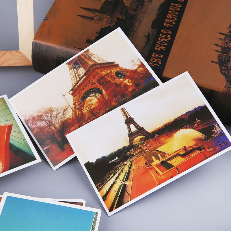 30 Sheets Eiffel Tower Paris Scenery Paintings Retro Vintage Postcard Christmas Gift Card Wish Poster Cards C26