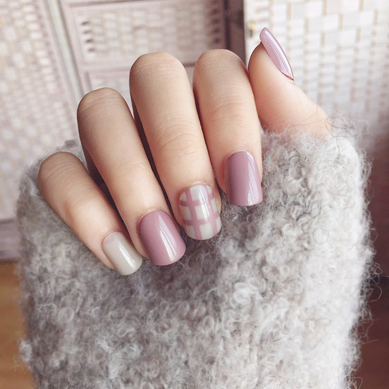 10style optional,Fashion 24PCS/set Simple lattice style finished False nail,lady full nail tips Short size square art tool bride