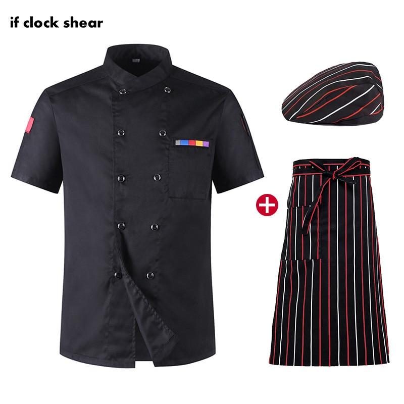 Hotel Kitchen Catering Work Clothes Men Short Sleeve Chef Jacket Hat Apron Shirt Men Chef Wholesale Restaurant Chef Uniforms New