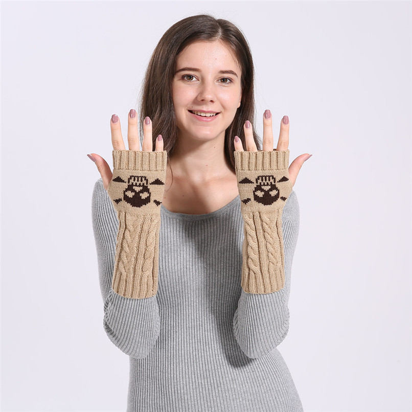 Mittens Womens Free Knitting Woman Winter Warm Knitted Long Twist Plus Thick Half Finger Gloves Mittens 30SP310