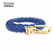 11 color hecho a mano para mujer cinturones De Cuero trenzado cinturón cinto 2017 diseñador de moda caliente para el vestido cinturones mujer sterglaw Y101