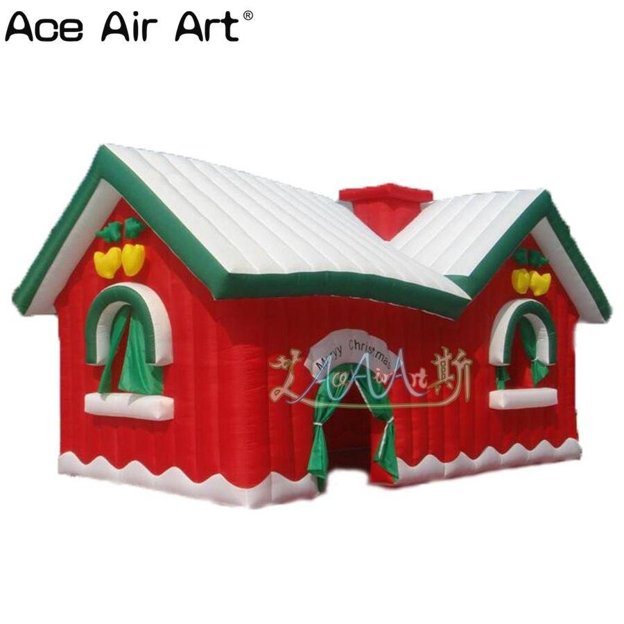 Décoration de noël extérieure de haute qualité, tente gonflable rouge de grotte de santa, maison de noël gonflable pour le festival