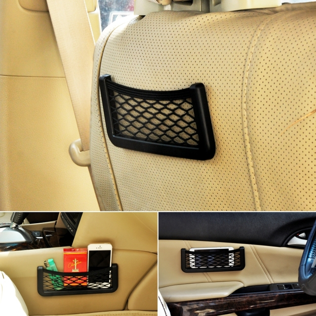 Multifunction Elastic Net Car Storage String Bag for Cell phone and Small Items Designed with 3M Double-sided Adhesive Tape 1