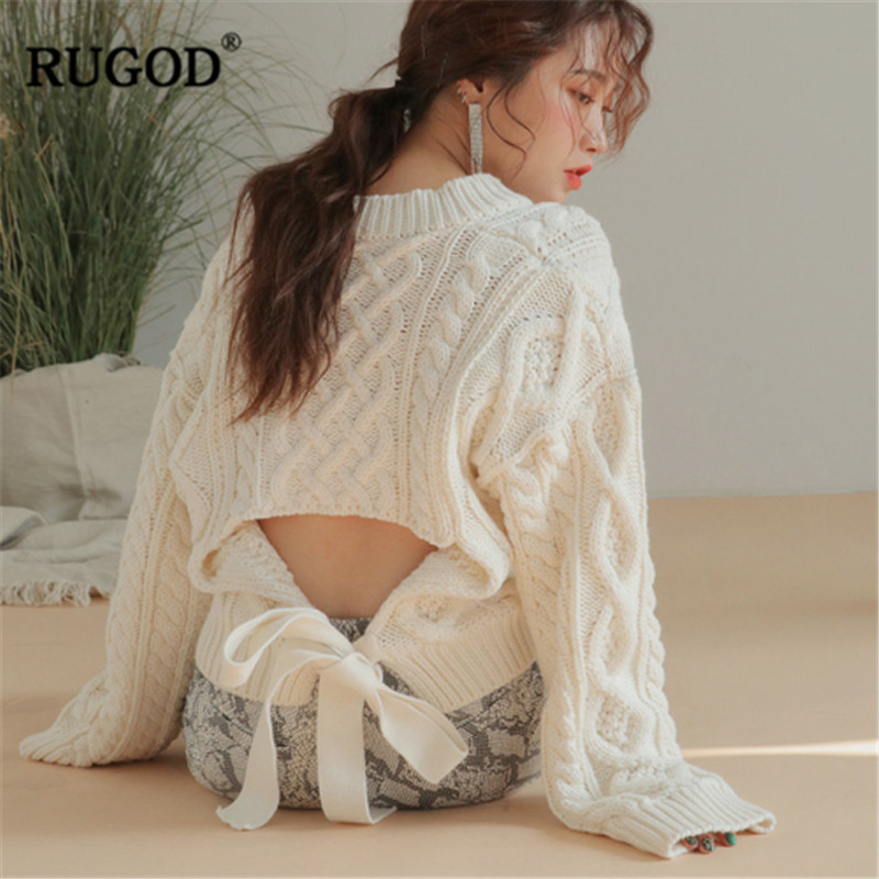RUGOD 2019 New Lace up Design Knitted Sweater Women Sexy Backless Twist Sweater Pullover Best Quality Long Sleeve Jumper Befree