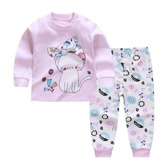 1cc2f25eba9 Baby Clothes Set Autumn Cartoon Print Kid Girl Boy Clothing Set Cotton Long  Sleeve T-Shirt Top+Pants 2PCS Outfit