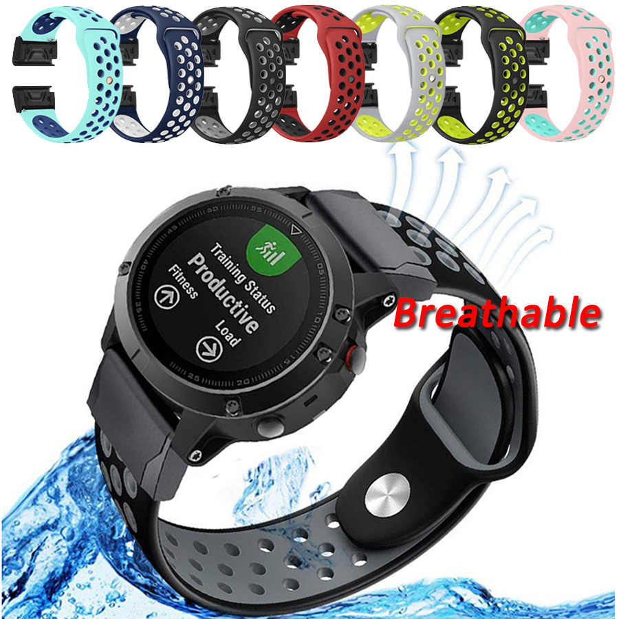 Watch Band For Garmin Fenix 3 / Fenix 3 HR 26mm Two-color Silicone Breathable Quick Replacement Strap Sport Bracelet Accessories