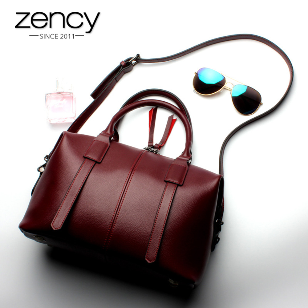 Zency Solid Women Tote Bag 100 Genuine Leather Luxury Handbag Fashion Crossbody Messenger Purse Business Female