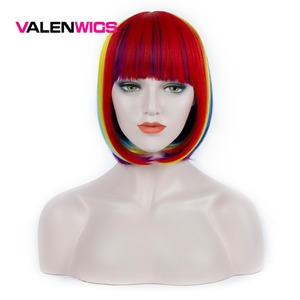 Valenwigs Synthetic Wigs For Women Colorful Rainbow Straight Hair Middle Part Bob Wig Heat Resistant Fake Cosplay Party Wigs