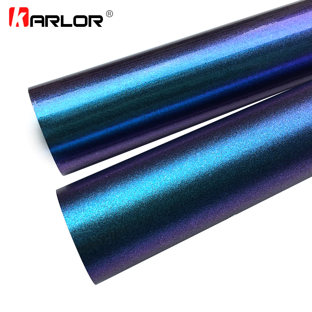 30x100cm Chameleon Pearl Glitter Vinyl Sticker Dark Blue to Purple Chameleon Car Wrap Film Pearl Glitter Vinyl Film Car Styling faux pearl detail glitter choker