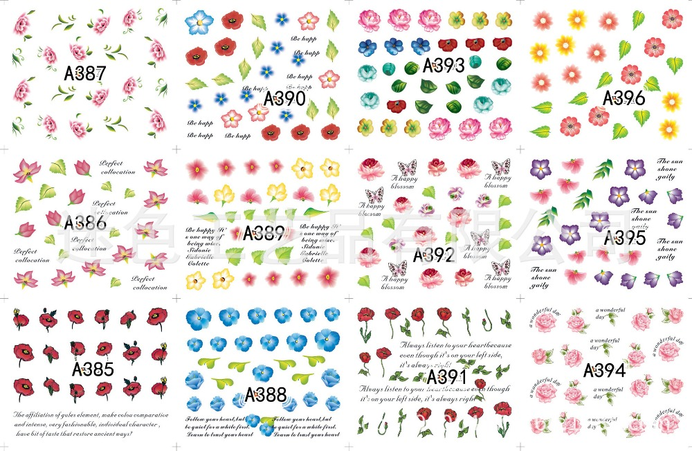 2pcs 12 Design in 1 Set Flowers Logo Water Transfers Nail Sticker Decals DIY Nail Art Tips Decoration Tools A385-A480