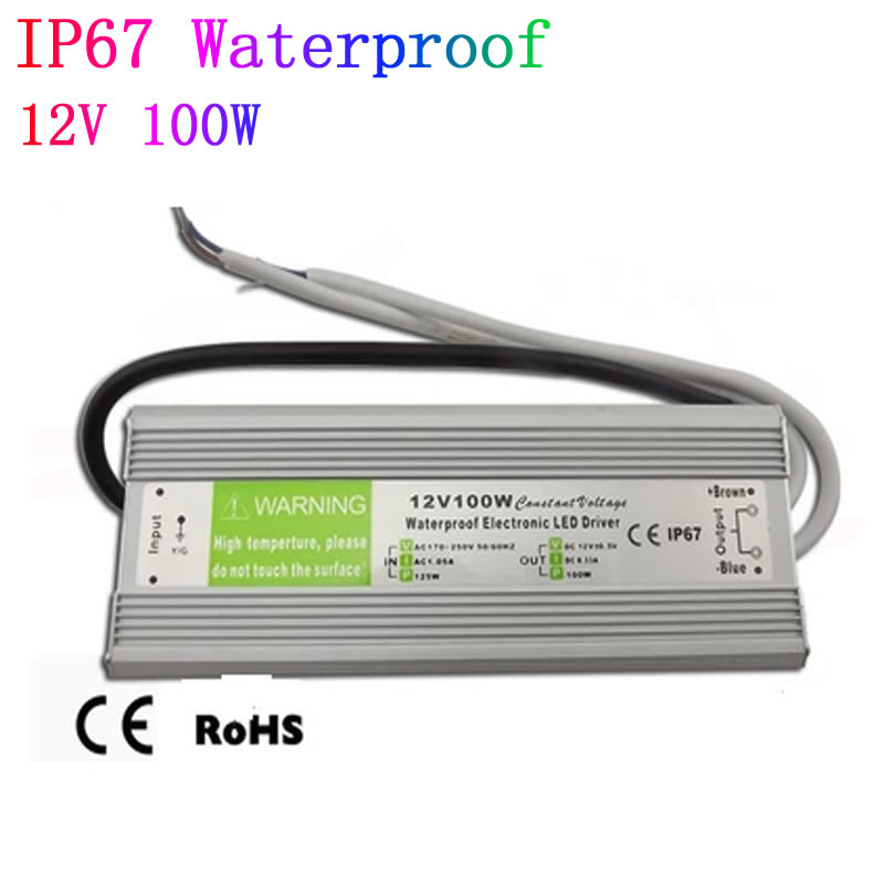 DC 12V 100W Waterproof ip67  LED Driver outdoor use  power supply for  led strip  lighting transformers adapter power supply 24v 800w dc power adapter ac110 220v non waterproof led driver 33a ups for strip lamps wholesale 1pcs