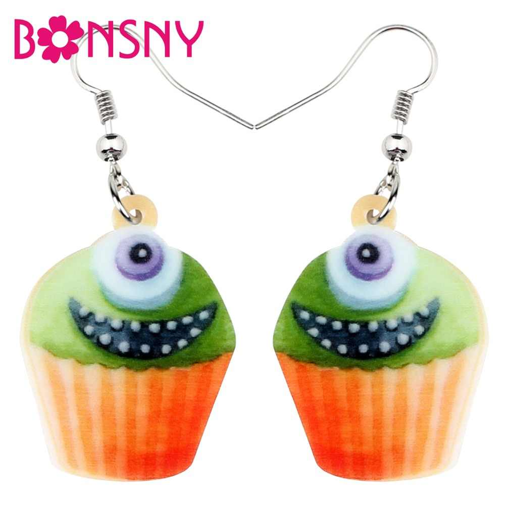 Bonsny Acrylic Halloween Happy Monster Cupcake Earrings Drop Dangle Novelty Food Jewelry For Women Girls Teens Charms Wholesale