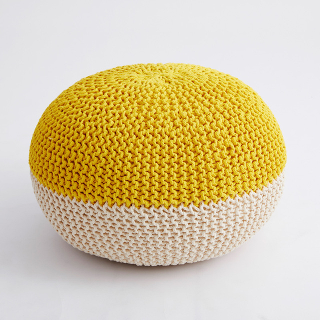 Handmade Hand Stitched Modern Knitted Pouf Ottoman Footrest Stool Delectable Yellow Knit Pouf
