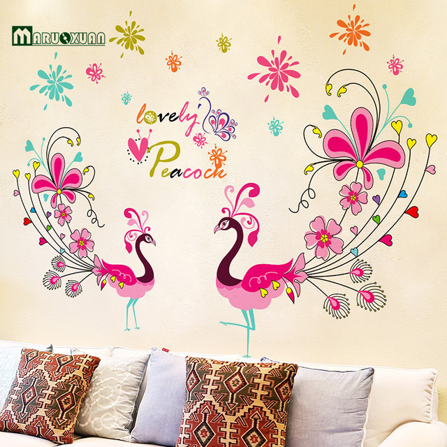 MARUOXUAN New Arrival Colorful Peacock Wall Sticker Poster Living Room Wall  Decals Self Adhesive Wall