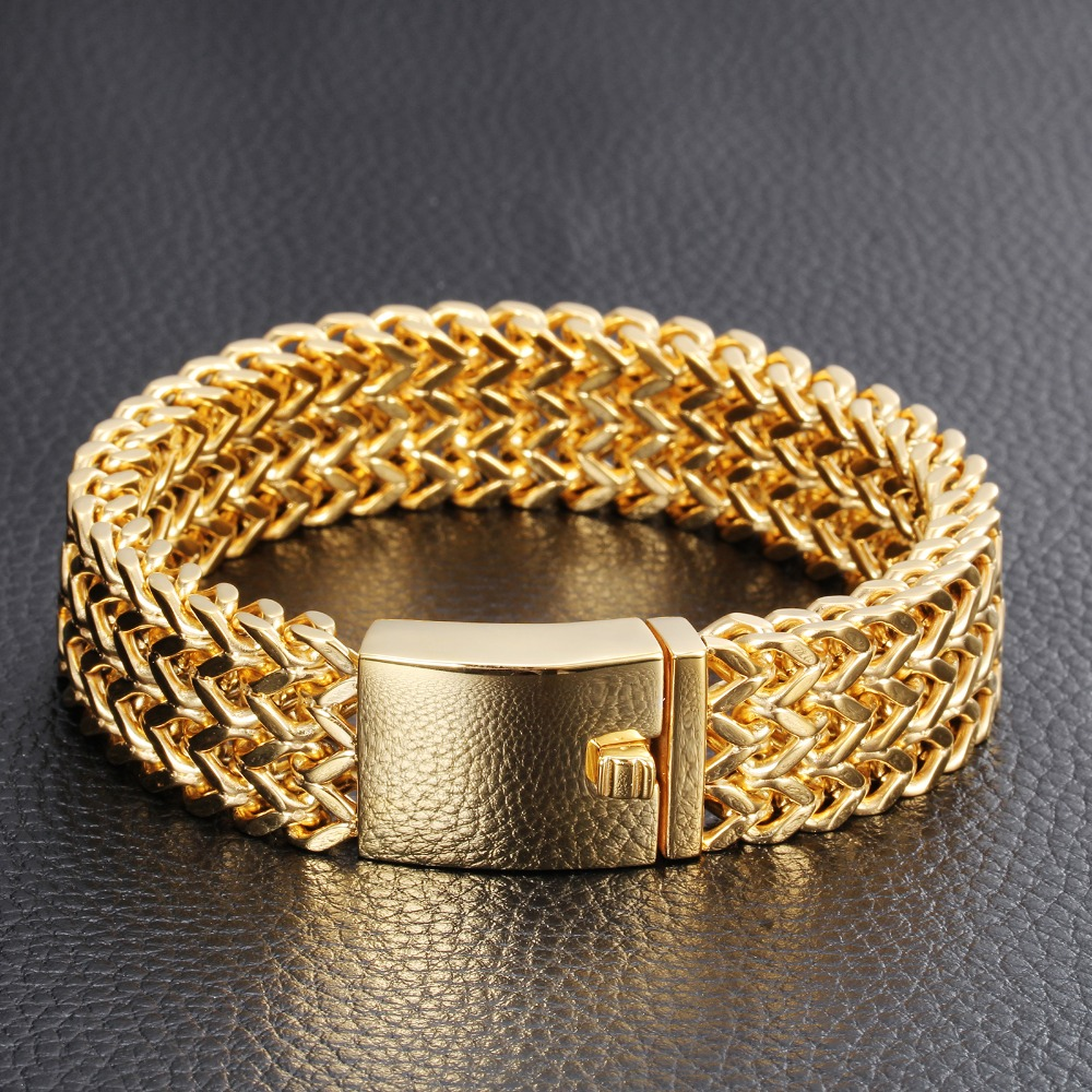 Silver Italian 18k Gold Bracelet Jewelry Wide Stainless Steel Men Curb Cuban Chain Thick Solid Color In Link Bracelets